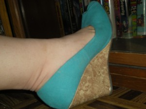 peep-toe teal canvas cork wedges