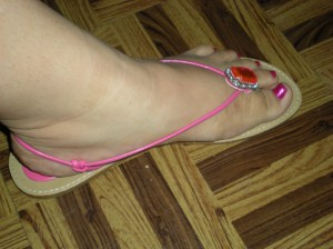 hot pink sandals with pink emerald gem detail