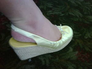 pale yellow pinstripe slingback espadrille wedge with white bow